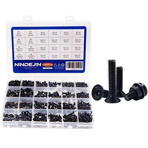 1060pcs Flat Schrauben NINDEJIN Kohlenstoffstahl Schraube Schrauben Muttern und Unterlegscheiben Sortiment Kit mit Aufbewahrung Box (1060)