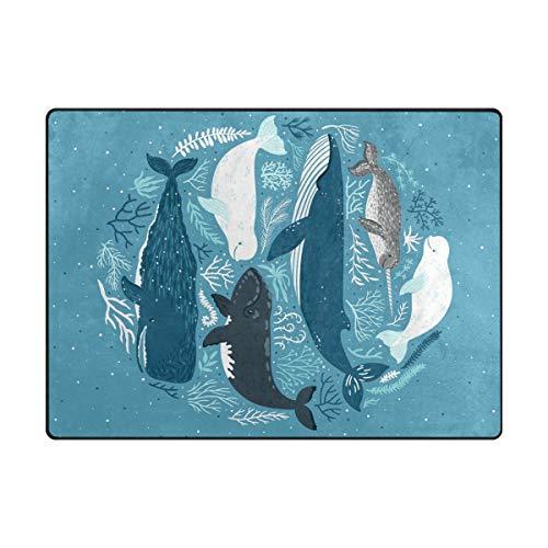 Orediy Große Schaumstoff-Teppich, Blaue Wale leicht, für Kinder, Spielmatte, Boden, Yogamatte, Kinderzimmer-Teppich für Wohnzimmer Schlafzimmer, Polyester, Multi, 203 x 147 cm