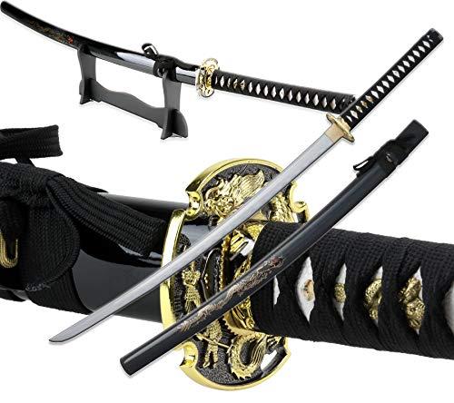 Vulcan Gear Traditional Handmade Sharp Katana Samurai Sword with Scabbard and Single Sword Wood Stand - Choose You Handle (Tsuba) Style (Ryuu Tsuba)