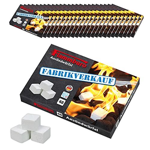 FLAMMBURO 1152 Stück Anzündwürfel Paraffin (24x48 Würfel) vom Deutschen Hersteller, Grillanzünder, Kaminanzünder, Ofenanzünder, Würfel, Anzündwolle, Made in Germany - 24 Schachteln x 48 Anzündwürfeln