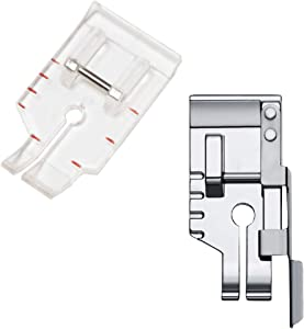 1/4 inch Presser Foot Quilting Patchwork Foot with Edge Guide, 1/4 Inch Clear View Quilting Presser Foot, Fit for Singer Brother Babylock Janome Simplicity Low Shank Sewing Machine(2pcs)