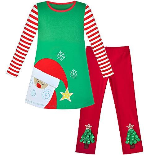 子供ドレス 洋服 セット 2 ピース コットン レギンス サンタ クリスマス ギフト 100cm