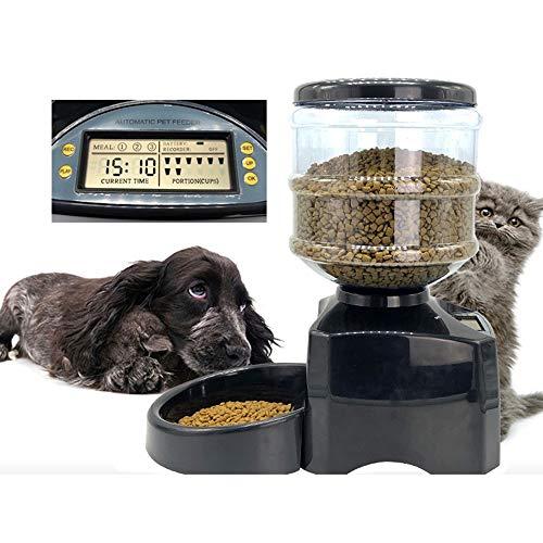 Bxiaoyan Schwarz Haustier Katze Hund Futterautomat 5.5L Beschreibbare Große Kapazität Fütterungsmaschine Schüssel DREI Mahlzeiten Timing Quantitative Kleine Mittlere Hunde Batterie Mikrocomputer
