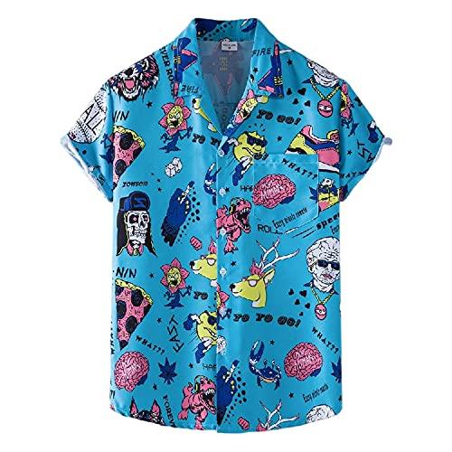 Shirts Pantalones Cortos Hombres Verano con Cuello En V Transpirable Hombres Shirt Botón Transpirable Bolsillos Cordones Hombres Conjunto Tendencia Moda Hombres Conjunto De Playa TZ81-1 XL