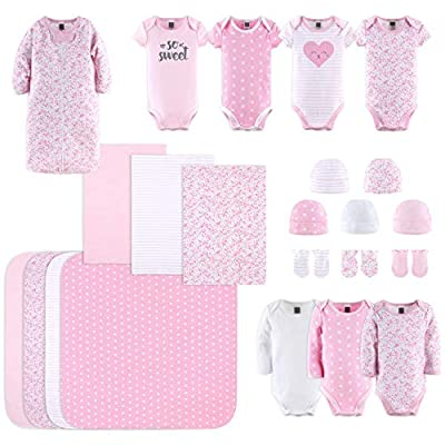 The Peanutshell Newborn Layette Gift Set for Baby Girls | 23 Piece Newborn Clothes & Accessories Set | Fits Newborn to 3 Months | Floral Pink