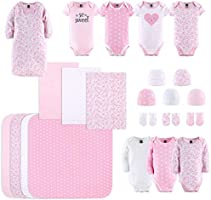 The Peanutshell Newborn Layette Gift Set for Baby Girls | 23 Piece Newborn Girl Clothes & Accessories Set