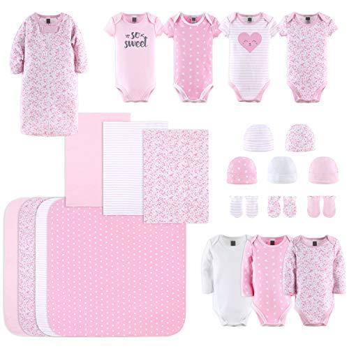 The Peanutshell Newborn Layette Gift Set for Baby Girls | 23 Piece Newborn Clothes & Accessories Set | Fits Newborn to 3 Months | Floral Pink