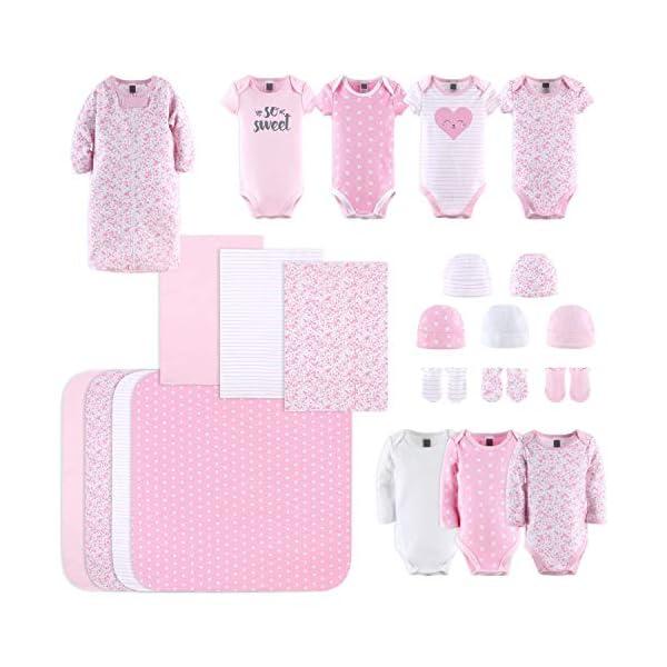 The Peanutshell Newborn Layette Gift Set for Baby Girls | 23 Piece Newborn Girl Clothes & Accessories Set | Fits Newborn to 3 Months | Floral Pink