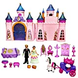 Skyzone Castle Doll House Play Set Toys for Girls Pretend Role Play Beauty Princess Dream Home with Dolls