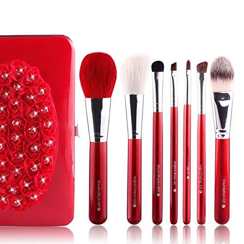 7 Pièces Maquillage Pinceau Mélange Blush Correcteur Yeux Visage Liquide Poudre Crème Cosmétiques Brosses Kit avec Sac Brosse à maquillage XXYHYQ (Color : Rouge, Size : Libre)