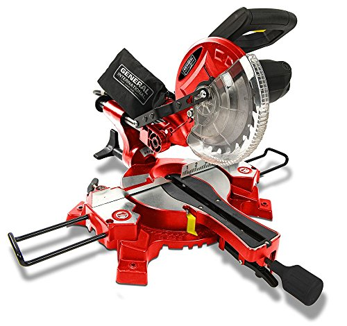 """GENERAL INTERNATIONAL 7-1/4"""" Compound Sliding Miter Saw - 10A Dual Slide Rail Chop Saw with 0-45° Bevel & Laser Alignment System - MS3002"""