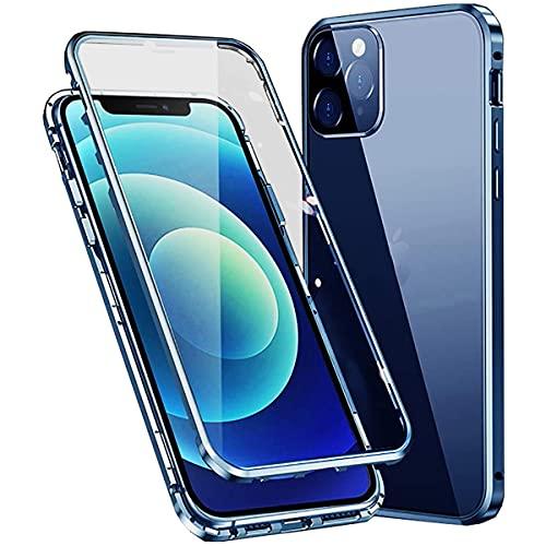 Funda para iPhone 12 Pro MAX Magnética Case,360° Completo Proteccion[con Protector de Lente de Cámara] Transparente Vidrio Templado Metal Marco Bumper Diseño de una Pieza Cover,Azul