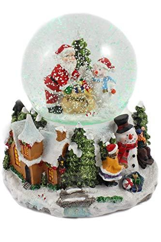 Creation Gross Schneekugel/Spieluhr 100mm, weihnachtlicher Sockel, Licht, Schneeantrieb, 15cm (6900270)