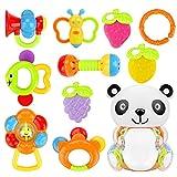 CestMall Baby Rattle Massaggiagengive Set di 10 PCS Sonaglio per neonati Dentizione Giocattoli per bambini Shaker Grab Rattle Giocattoli educativi precoci per neonati in Panda Bottle Storage