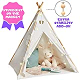 EQOYA Teepee Tent for Kids with Lights - Pure Cotton Kids Tepee Tents Indoor for Boys and Girls, Baby and Toddler - Great for Outdoor Play Tee Pee for Children - Sturdy and Comfort Tipi Play-House