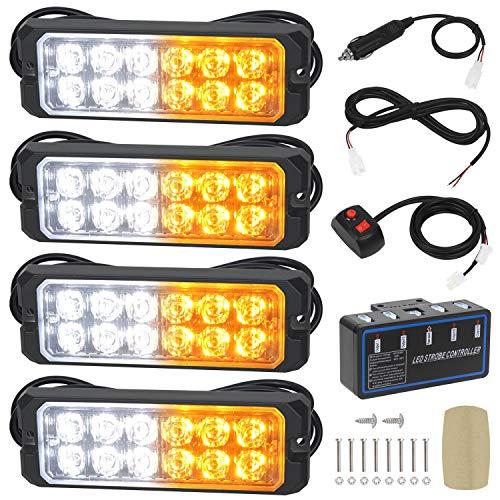 Linkitom 12-24V 12-LED Super Bright Sync Feature Emergency Hazard Warning Strobe Lights with Main Control Box Surface Mount - 4PCS (Amber/White)