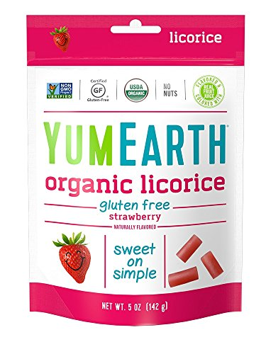 YumEarth Organic Gluten Free Strawberry Licorice, 5 Ounce Bag (Pack of 12)