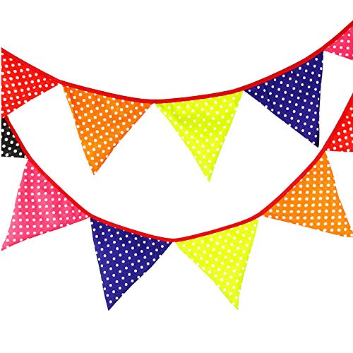 300cm (9.8-10 ft) Colorful Fabric Bunting, Double Sided Pennant Flag Banners, Triangle Chic Garlands Decoration for Birthday Parties Ceremonies Kitchen Bedrooms (Multicolor)