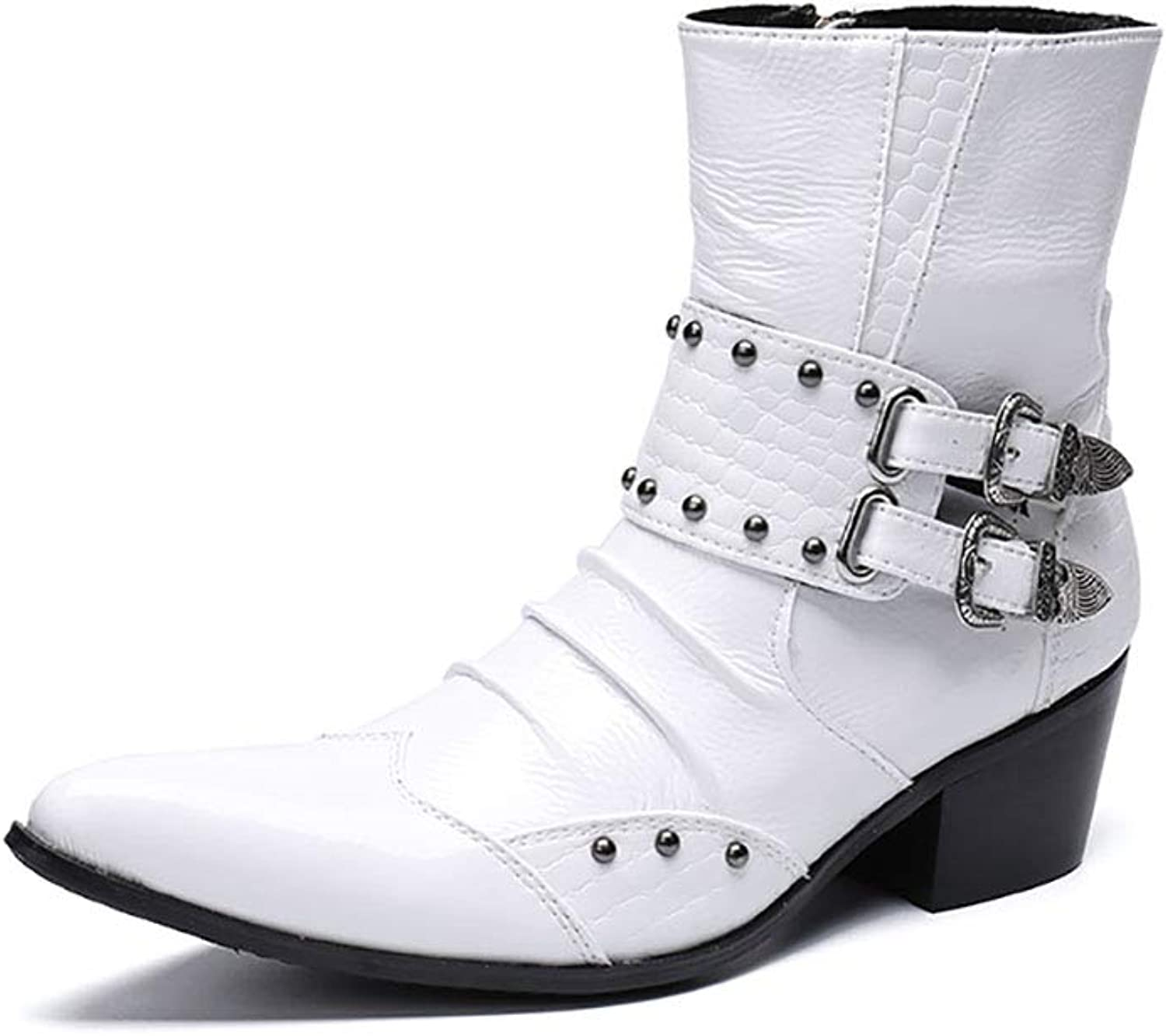 Men's Boots Fashion Punk Pointed Leather shoes Short Martin Boots Personalized Western Cowboy Boots Rock Singer Dress Wedding shoes for Formal,Wedding,Casual,Office,Party,White,Size 37 to 46