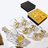 LEILEI Set caraffa Whisky 7 Pezzi,Contorno in Cristallo Oro caraffa liquore e Bicchieri al...
