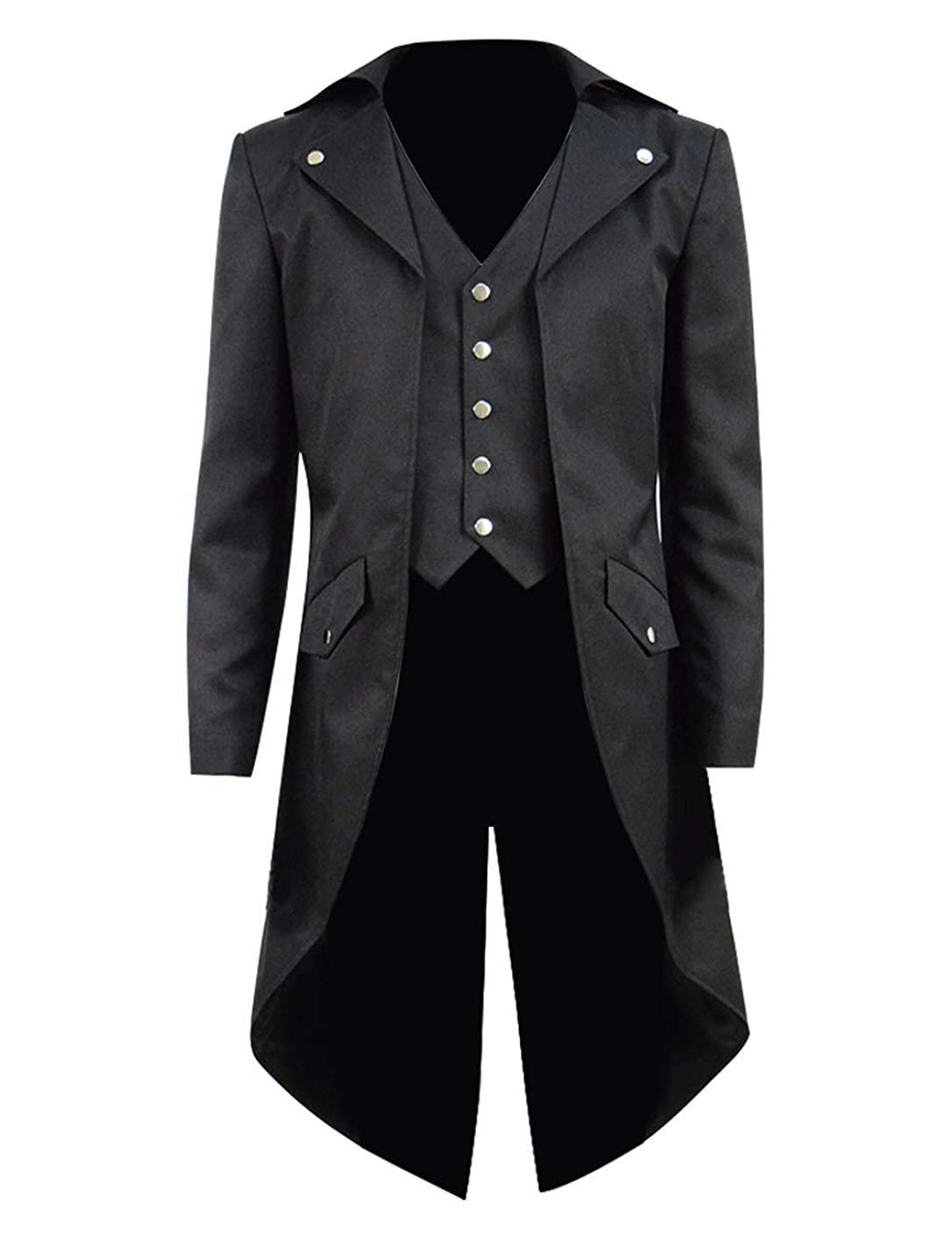 Kids Boys Steampunk Jacket Cosplay Tailcoat Gothic Long Coat with Tails(Five Buttons)