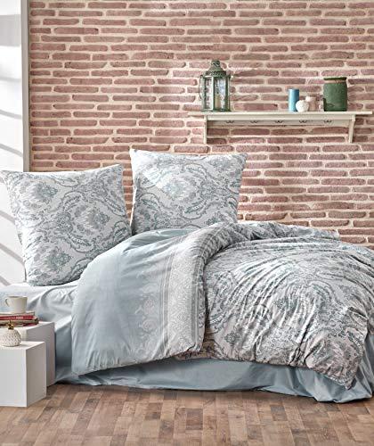 ZIRVEHOME Baumwolle Bettwäsche 240x220 cm, Türkis, Barock Muster, 100% Baumwolle/Renforcé, Reißverschluss, Model: Turka V1