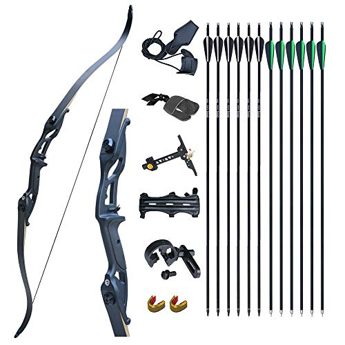 D&Q 56' Archery Takedown Recurve Bow Hunting Bow and Arrow Set Adult Target Practice Competition...