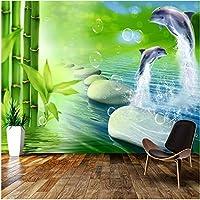 Xbwy 装飾壁画ステッカー竹イルカ石畳壁画壁紙防水壁画リビングルームの装飾-250X175Cm
