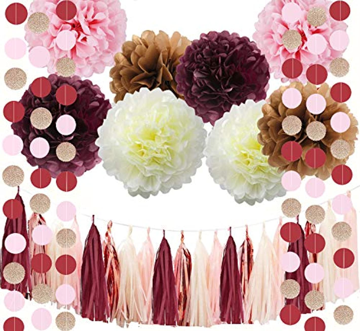 Fascola Bridal Shower Decorations Maroon Party Decorations Burgundy Glitter Rose Gold Blush Pink Ivory Birthday Decorations Tissue Paper Pom Pom Tassel Garland Burgundy Wedding/Bachelorette Party Dec