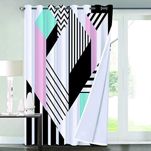 Flyerer Verdunkelungsvorhange,Colorful Memphis Geometric Pattern In Modern Abstract Shape Fun Bauhaus,Wohnzimmer,Schlafzimmer,Vorhang,Familienleben,Dekoration