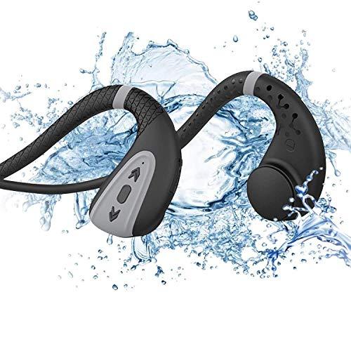 EULIQ Bone Conduction Bluetooth Kopfhörer Schwimmen Kopfhörer Schwimmen MP3 Player Bluetooth 5.0 Wireless Kopfhörer IPX8 Wasserdicht Wireless Sport Headset mit 8G Speicher MP3 Player (Schwarz Grau)