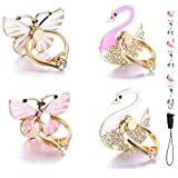 4 Pack Phone Ring Stand, Diamond Bling Butterfly Cell Phone Kickstand Grip, 360 Rotation Universal Multi Angle Metal Phone Ring Holder (2 Butterfly, 2 Swan, 1 Strip )
