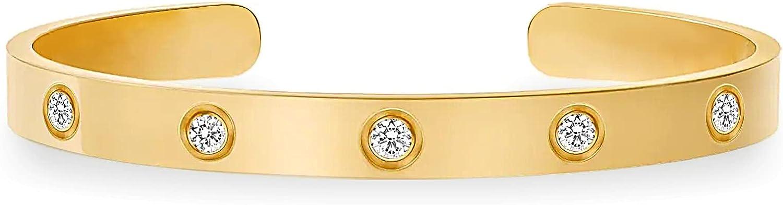 Love Cuff Bracelets for Women, 18k Gold Plated Cubic Zirconia Stainless Steel Bangle Bracelets Jewelry