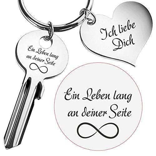Geschenke 24 Schlüssel EIN Leben lang an deiner Seite mit Gravur Silber Ich Liebe Dich - romantischer Schlüsselanhänger zu Meinem Herzen