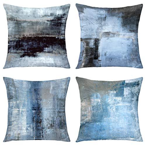 GALMAXS7 Blau-grauer Deko-Kissenbezug, modern, abstrakte Kunst, weicher Samt-Kissenbezug, Sofakissen, quadratischer Kissenbezug für Couch Schlafzimmer Wohnzimmer 45,7 x 45,7 cm, 4er-Set