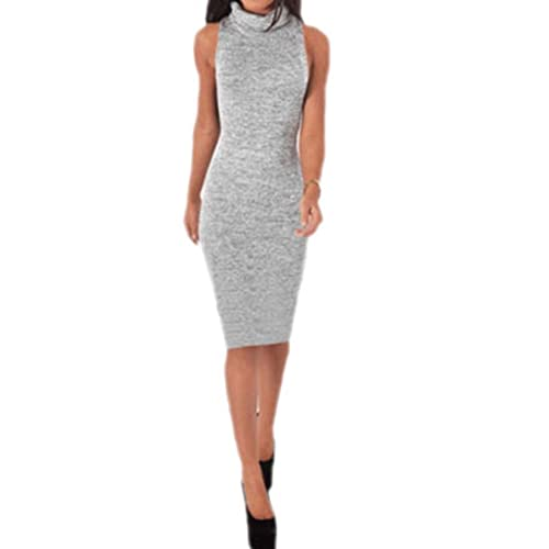 b46a72077ca3c Women Turtleneck Sleeveless Maxi Knit Sweater Bodycon Pencil Party Dress