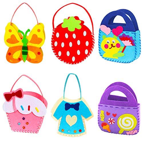 Fahibin 6 Stück Kinder Nähsets, Filz Stoff Kinder DIY NähenBastelsets Handtasche Partytüten,Kreative Geschenke für Mädchen