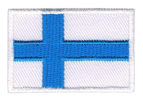 Bestellmich Finnland Flagge Klein Aufnäher Bügelbild Größe 4,5 x 3,0 cm
