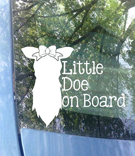 Yilooom Baby on Board Car Decal, Little Doe on Board, Hunting, Baby Shower, Deer Bumper Sticker, Baby Safety, New Baby, Dad Gift, Girl Sticker 6 inches - 2 Packs