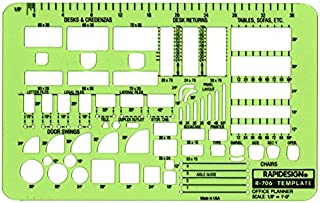 Rapidesign Office Planner Template, 1/8 Inch Scale, 1 Each (R706)