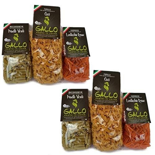 Hülsenfrüchte Nudeln - 6 Packungen - 2 x Kichererbsen, grüne Erbsen, rote Linsen - Jeweils 250 gr