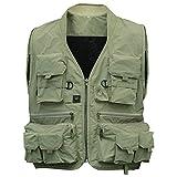 zantec Hombre multifunción bolsillos Viajes Deportes Pesca–Chaleco Outdoor, color verde, tamaño xx-large