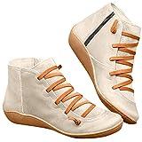 Luckycat 2019 Botas para Mujer Botines de Cuero Otoño Vintage con Cordones Zapatos de Mujer Botas cómodas de tacón Plano Cremallera Bota Corta Botas de Nieve Mujer Impermeable
