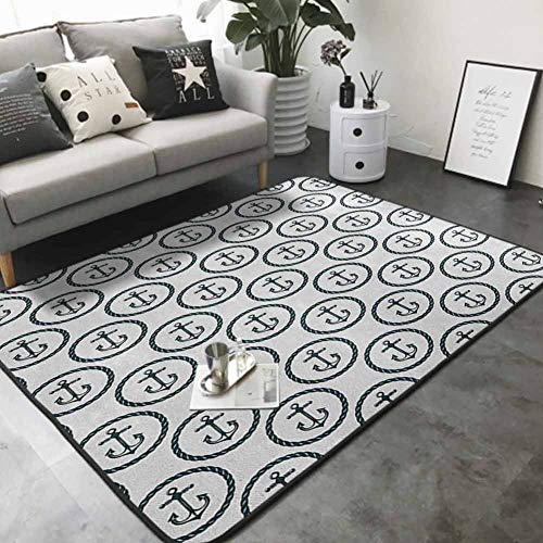 Kitchen Carpet Retro Style Pattern Anchors in Circular Rope Frames Naval Transportation Ornament 60'x 72' Modern Area Rug with Non-Skid