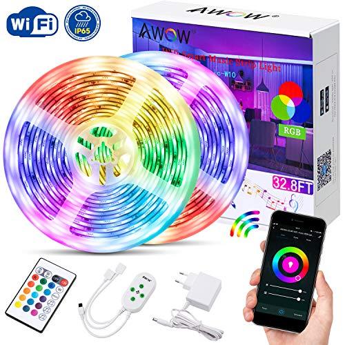 Led Streifen Wifi 10M, Wifi Led Strip IP65, Wifi Led Band, Lichtband, steuerbar via App und Ferbedienung, 16 Millionen Farben, Kompatibel mit Alexa Google Home, Stimmenkontrolle