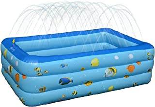 """funwill Inflatable Swimming Pool with Sprinkler 94.49""""x57.69""""x21.65"""" PVC Folding Durable Playing Water Splashin Pool for ..."""