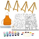 24-in-1 Kids Paint Set for Kids Age 3-9 with Kids Easels,Canvas Boards for Painting, Acrylic Paints, Paint Brushes, Palette and a Smock, Art Kit by Flying Olly