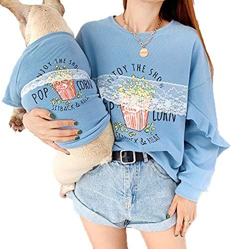 Romon Cute Popcorn Family Parent-Child Clothes For Dog Pet Cat Pitbull Dog Coat Jacket Chaqueta con Capucha Camisa para Mujeres Trajes de Disfraces para Perros-Azul_L