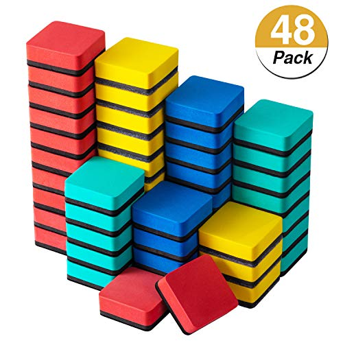 Favourde 48 Pack Magnetic Whiteboard Dry Eraser Chalkboard Cleansers for Classroom, Home and Office (4-color, 1.97 x 1.97 Inch)