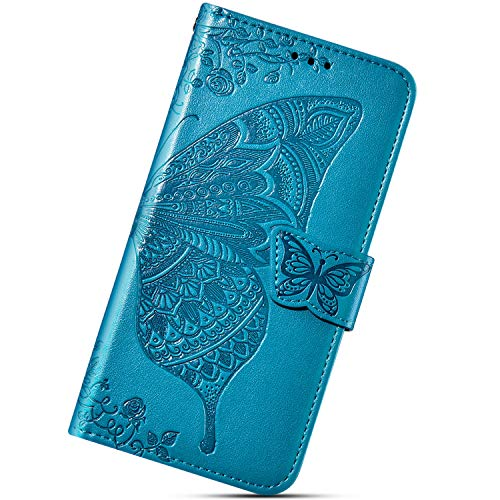 Urhause Funda Compatible con Xiaomi Redmi 6A.KunyFond Cuero Flor Mariposa Carcasa Case Estampado PU Flip Billetera Ranura para Tarjeta Cierre Magnético Protectora Función de Soporte Bumper,Azul